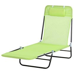 Outsunny Adjustable-Level Chaise Sun Lounge Chair for The Beach, Patio, or Deck w/Folding Design ...