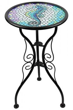 Liffy Outdoor Mosaic Side Table Seahorse Bench Small Patio Round Printed Glass Table for Garden, ...