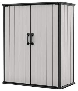 Keter Premier Tall Resin Outdoor Storage Shed with Shelving Brackets for Patio Furniture, Pool A ...