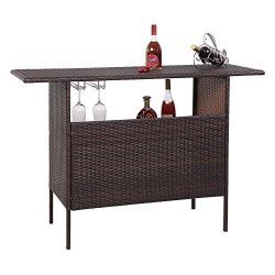 VINGLI Outdoor Wicker Bar Table with 2 Steel Shelves, 2 Sets of Rails, Rattan Bar Counter Table  ...