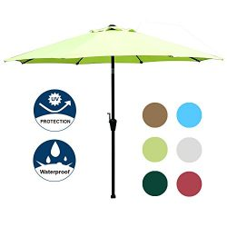 Blissun 9′ Outdoor Market Patio Umbrella with Auto Tilt and Crank, 8 Ribs (Light Green)