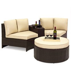 Best Choice Products 4-Piece Backyard Wicker Patio Sofa Sectional Set w/Umbrella Holder and Stor ...