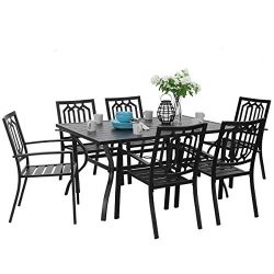 PHI VILLA Outdoor Patio Dining Set 7 Piece with Rectangular Table and 6 Bistro Chairs – Black