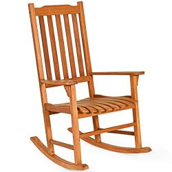 Giantex Porch Rocking Chair, Solid Wood Rocker for Outdoor Indoor Use. Natural Finish, Single Ch ...