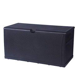 LUCKYERMORE Patio Deck Box Storage Container Outdoor Rattan Style Plastic Storage Cabinet Bench  ...