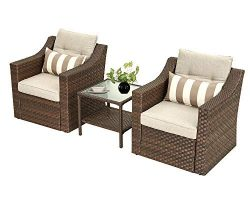 SOLAURA Patio Outdoor 3 Pieces Furniture Set Brown Wicker Sofa Light Brown Cushions with Glass T ...