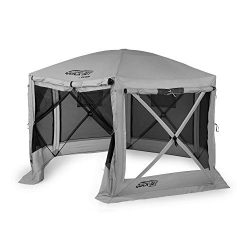 Quick Set 15221 Pavilion 12.5 Foot Portable Outdoor Gazebo Canopy Shelter Screen Tent for Picnic ...