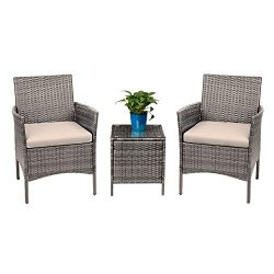 Devoko 3 Pieces Patio Furniture Sets PE Rattan Wicker Chairs with Table Outdoor Garden Porch Fur ...