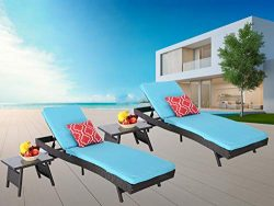 HTTH Patio Reclining Chaise Lounge Set, Adjustable Backrest,All-Weather Sun Bed Lounger Furnitur ...