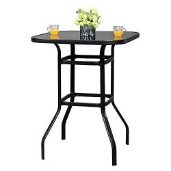 VINGLI Outdoor Bar Table Bistro Table Metal Frame Patio Bar Table, Tempered Glass Table Top All  ...