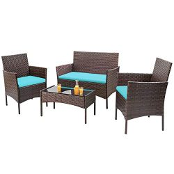 Homall 4 Pieces Outdoor Patio Furniture Sets Rattan Chair Wicker Set, Outdoor Indoor Use Backyar ...