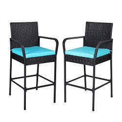 Kintness Set of 2 Wicker Bar stools Black PE Rattan Patio Height Chair Furniture with Armrest an ...