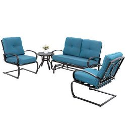 JY QAQA 4Pcs Outdoor Patio Furniture Conversation Sets(Glider Loveseat,Coffee Table,2 Spring Cha ...