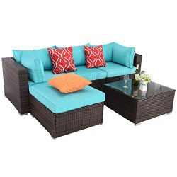 Do4U Patio Furniture Sets 5 Pieces All-Weather Outdoor Sectional Rattan Sofa Wicker Patio Conver ...