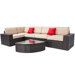 Incbruce Outdoor Patio Furniture Sets 6-Piece Outside Couch Wicker Sectional Sofa, Waterproof Co ...