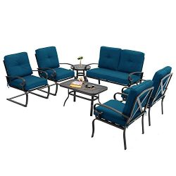 Incbruce 7Pcs Outdoor Patio Furniture Conversation Sets (Loveseat, Coffee Table and Bistro Table ...