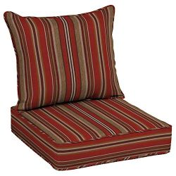 Allen roth 2-Piece Priscilla Stripe Red Deep Seat Patio Chair Cushion, Set of 2