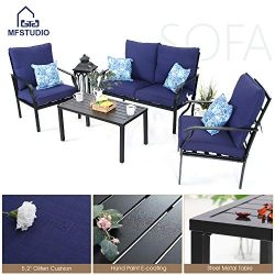 MF STUDIO 4 Piece Metal Patio Sofa Set Outdoor Furniture Dining Set Cushioned Conversation Set B ...