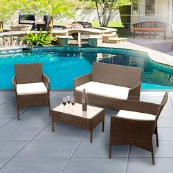 Luckycloud 4 Pieces Outdoor Patio Furniture Sets Rattan Wicker Chair Set with Cushion Coffee Tab ...