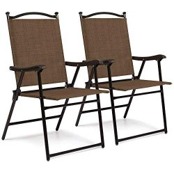 Best Choice Products Set of 2 Outdoor Mesh Fabric Portable Folding Sling Back Chairs for Backyar ...