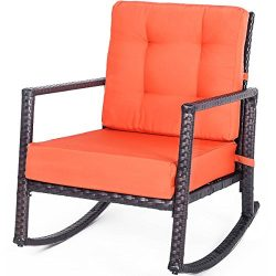 Rhomtree Outdoor Rattan Rocking Chair with Cushion Patio Glider Lounge Wicker Chair Bistro Garde ...