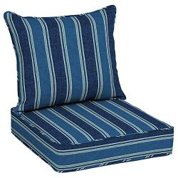 Allen roth 2-Piece Blue Coach Stripe Deep Seat Patio Chair Cushion, Set of 2