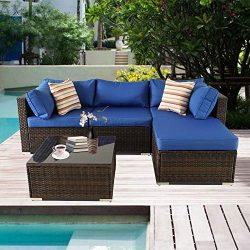 Patio Sofa 5-Piece Brown PE Rattan Couch Outdoor Garden Furniture with Royal Blue Cushion (Brown)
