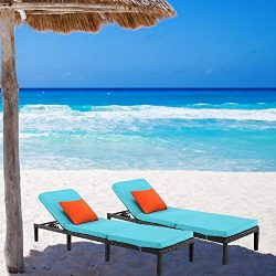 HTTH 2pcs Rattan Chaise Lounge Outdoor Patio Chairs All-Weather Sun Chaise Lounge Furniture for  ...