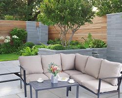Kozyard 4 Pieces Outdoor Sofa Set with Strong Metal Frame and Comfortable Cushions, Perfect as P ...
