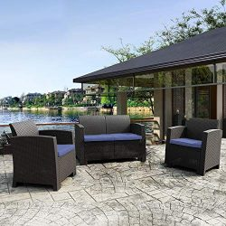 Winsday 3 Pieces Patio Furniture Sets All Weather Outdoor Sectional Sofa Resin Plastic Wicker Pa ...