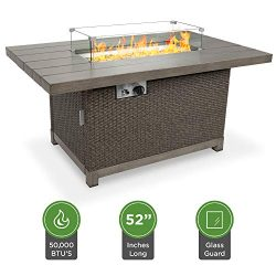 Best Choice Products 52in 50,000 BTU Wicker Propane Fire Pit Table w/Aluminum Tabletop, Glass Wi ...