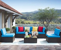 Homall 6 Pieces Patio Outdoor Furniture Sets, Low Back All-Weather Rattan Sectional Sofa Manual  ...
