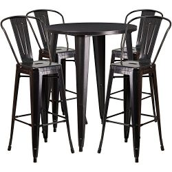 "Flash Furniture 30"" Round Black-Antique Gold Metal Indoor-Outdoor Bar Table Set with 4 Caf ..."