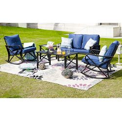 LOKATSE HOME 5Pcs Patio Furniture Conversation Bistro Sets Loveseat and 2 Coffee Table, 5 pcs Ch ...