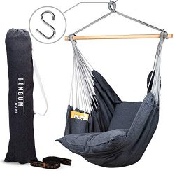 Bengum Hammock Chair Hanging Swing | Indoor and Outdoor Use | Large Swinging Seat Chair for Pati ...