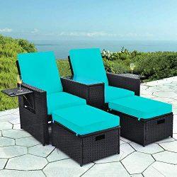 B BAIJIAWEI 5pcs Patio Wicker Loveseat – Outdoor Rattan Sofa Set with Cushion – Adju ...