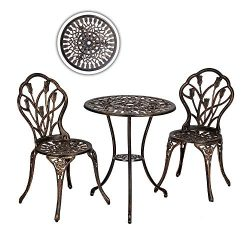 VINGLI 3-Piece Patio Bistro Set Outdoor Furniture Patio Table and Chairs with/Tulip Design, Perf ...