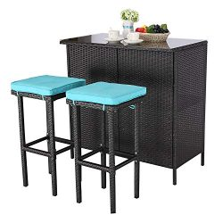 Do4U 3 Pieces Patio Bar Table Set All-Weather Outdoor Wicker Bar with 2 Storage Shelves Glass To ...