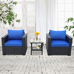 3-Piece Patio Wicker Conversation Furniture Set,Outdoor PE Rattan Single Chair Armchair Sofa and ...