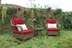 N&V Patio Outdoor Furniture Sets (3 Pieces) Wicker Chairs with Glass Coffee Table Pillows &a ...
