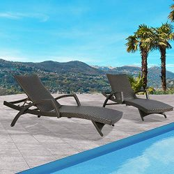 Ulax Furniture Outdoor Woven Padded 2-Pack Aluminum Chaise Lounge Armed Patio Lounger Adjustable ...