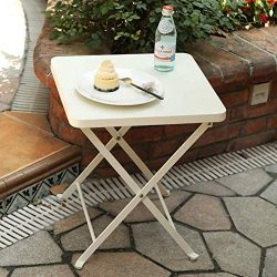PHI VILLA Folding Patio Side Table Outdoor Steel Coffee Table, Small End Patio Tables, White