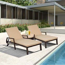 Erommy Chaise Lounge Outdoor Lounge Chair Pe Rattan Wicker Chaise Lounge Chair with Wheels for G ...