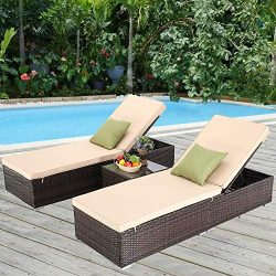 Furnimy 3 PCS Outdoor Patio Chaise Lounge Chair Set PE Rattan Wicker for Poolside Porch Backyard ...