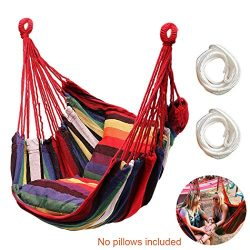 Hammock Chair Hanging Rope Swing Seat for Indoor Outdoor, Sturdy Cotton Weave Hammock Swing, Max ...