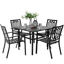 PHI VILLA Metal Outdoor Patio Dining Set Table and 4 Chairs Square Set of 5 – Black