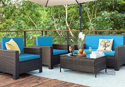 Homall 5 Pieces Outdoor Patio Furniture Sets Rattan Chair Wicker Conversation Sofa Set, Outdoor  ...