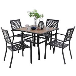 PHI VILLA Metal Outdoor Patio Dining Chairs and 37″x37″ Wood-Like Square Table Furni ...
