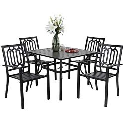 PHIVILLA 5-Piece Metal Patio Outdoor Table and Chairs Dining Set- 37″ Square Bistro Table  ...