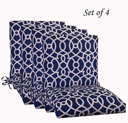 Comfort Classics Inc. Set of 4 Outdoor Patio Dining Chair Cushion, Fretwork 20″x 44″ ...